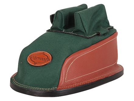 Edgewood Minigater Rear Shooting Rest Bag Tall with Regular Ears and Wide Stitch Width Leather and Nylon Green Unfilled
