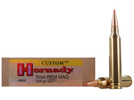 Hornady Custom Ammunition 7mm Remington Magnum 154 Grain SST Box of 20