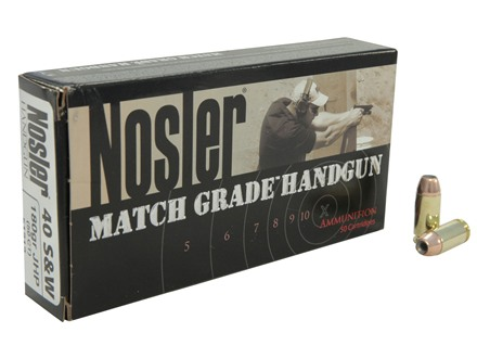 Nosler Match Grade Ammunition 40 S&W 180 Grain Jacketed Hollow Point Box of 50