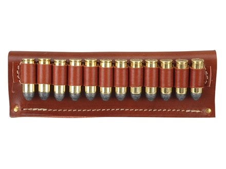Hunter Cartridge Belt Slide Pistol Ammunition Carrier 45 Caliber 12-Round Leather Brown