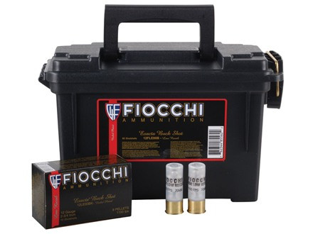 "Fiocchi Low Recoil Ammunition 12 Gauge 2-3/4"" 00 Buckshot 9 Nickel Plated Pellets Ammunition Can of 80 (8 Boxes of 10)"