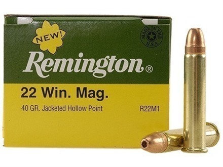Remington Ammunition 22 Winchester Magnum Rimfire (WMR) 40 Grain Jacketed Hollow Point Box of 50