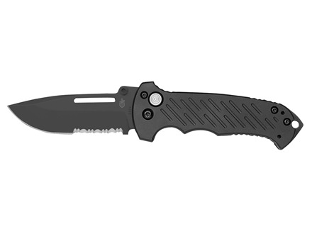"Gerber 06 Combat FolderTactical Folding Knife 3.6"" Serrated Drop Point S30V Black Stainless Steel Blade Aluminum Handle Black"