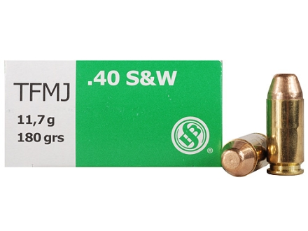 Sellier & Bellot Ammunition 40 S&W 180 Grain Full Metal Jacket Lead-Free Box of 50