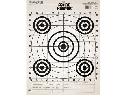 "Champion Score Keeper 100 Yard Sight-In Rifle Target 14"" x 18"" Paper Black Bull Package of 12"