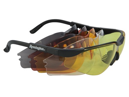 Remington T-85 Shooting Glasses Kit Black Frame Clear Smoke Amber Orange and Copper Lenses