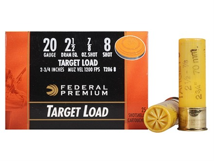 "Federal Premium Gold Medal Ammunition 20 Gauge 2-3/4"" 7/8 oz #8 Shot Box of 25"