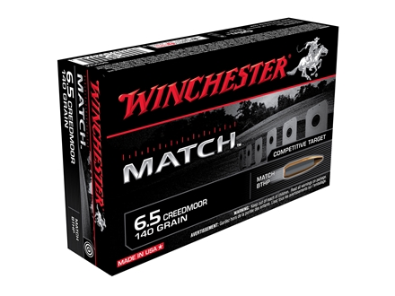Winchester Match Ammunition 6.5 Creedmoor 140 Grain Sierra MatchKing Hollow Point Boat Tail