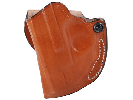 DeSantis Mini Scabbard Outside the Waistband Holster Left Hand Smith & Wesson M&P Shield with Crimson Trace LG489 Leather Tan