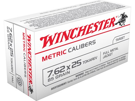 Winchester USA Ammunition 7.62x25mm Tokarev 85 Grain Full Metal Jacket Box of 50