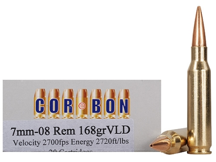Cor-Bon Performance Match Ammunition 7mm-08 Remington 168 Grain VLD Box of 20