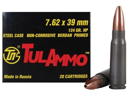 TulAmmo Ammunition 7.62x39mm Russian 124 Grain Hollow Point (Bi-Metal) Steel Case Berdan Primed