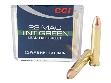 CCI Maxi-Mag Ammunition 22 Winchester Magnum Rimfire (WMR) 30 Grain Speer TNT Green Hollow Point Lead-Free Box of 500 (10 Boxes of 50)