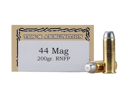 Ten-X Cowboy Ammunition 44 Remington Magnum 200 Grain Lead Round Nose Flat Point Box of 50