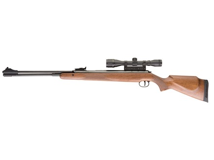 RWS 460 Magnum Air Rifle 177 Caliber Pellet Wood Stock Blue Barrel with RWS Airgun Scope 4x 32mm Matte