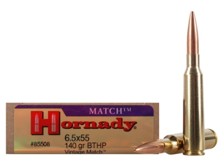 Hornady Vintage Match Ammunition 6.5x55mm Swedish Mauser 140 Grain Boat Tail Hollow Point Box of 20