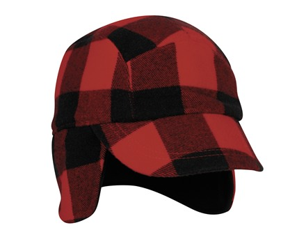 Outdoor Cap Short-Billed Cap with Ear Flaps Polyester Red Flannel