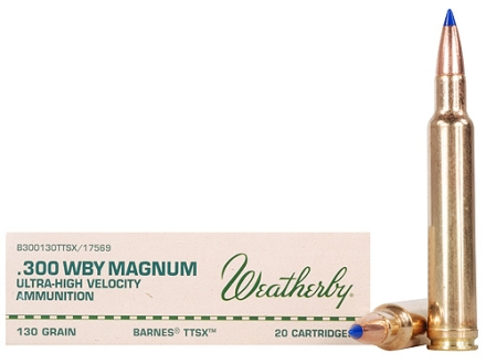 Weatherby Ammunition 300 Weatherby Magnum 130 Grain Barnes Tipped Triple-Shock X Bullet Hollow Point Lead-Free Box of 20