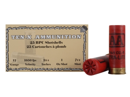 "Ten-X Cowboy Ammunition 12 Gauge 2-3/4"" 1 oz #7-1/2 Lead Shot BPC Box of 25"