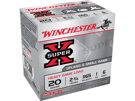 "Winchester Super-X Heavy Game Load Ammunition 20 Gauge 2-3/4"" 1 oz #6 Shot"