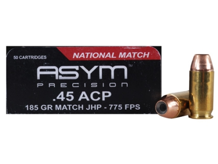 ASYM Precision National Match Ammunition 45 ACP 185 Grain Jacketed Hollow Point Box of 50