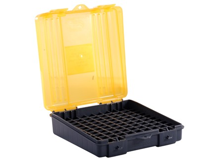Plano Ammo Box 380 ACP, 9mm Luger 100-Round Plastic Dark Gray and Clear Amber