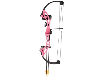 """Bear Archery Brave Youth Compound Bow Package Right Hand 15-20 lb 15-20"""" Draw Length Pink"""