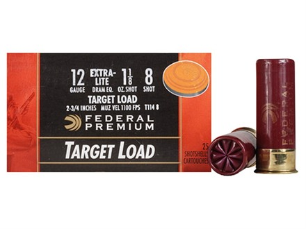 "Federal Premium Gold Medal Extra-Lite Ammunition 12 Gauge 2-3/4"" 1-1/8 oz #8 Shot"