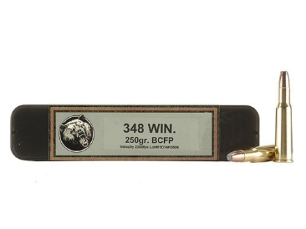 Grizzly Ammunition 348 Winchester 250 Grain Bonded Core Jacketed Flat Point Box of 20
