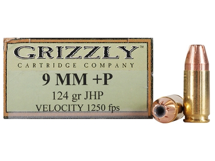 Grizzly Ammunition 9mm Luger +P 124 Grain Jacketed Hollow Point Box of 20