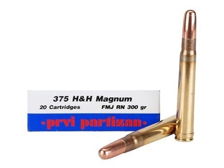 Prvi Partizan Ammunition 375 H&H Magnum 300 Grain Full Metal Jacket Box of 20