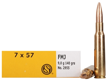 Sellier & Bellot Ammunition 7x57mm Mauser (7mm Mauser) 140 Grain Full Metal Jacket Box of 20