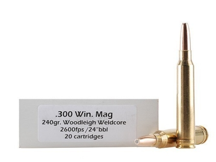 Doubletap Ammunition 300 Winchester Magnum 240 Grain Woodleigh Weldcore Jacketed Soft Point Box of 20