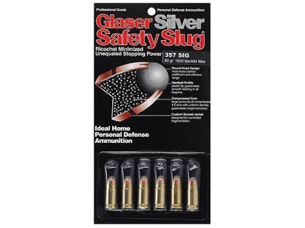 Glaser Silver Safety Slug Ammunition 357 Sig 80 Grain Safety Slug Package of 6
