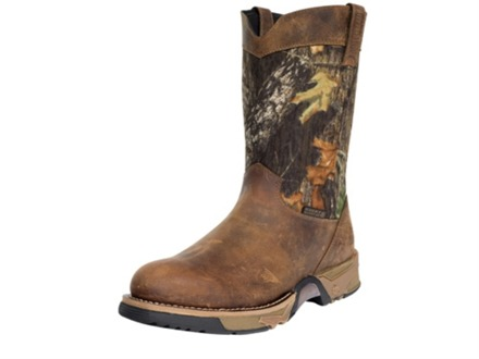 "Rocky Aztec Wellington 10"" Waterproof Uninsulated Boots Leather and Nylon Brown and Mossy Oak Break-Up Camo Mens 10-1/2 D"