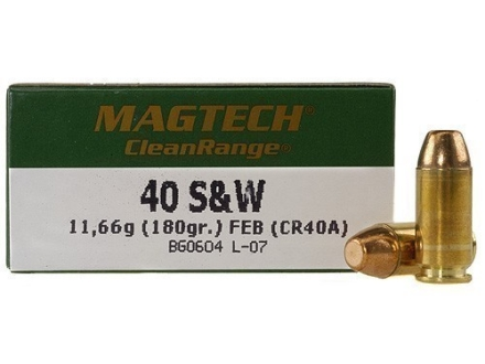 Magtech Clean Range Ammunition 40 S&W 180 Grain Encapsulated Flat Nose