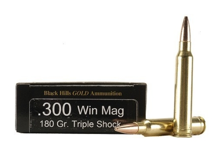 Black Hills Gold Ammunition 300 Winchester Magnum 180 Grain Barnes Triple-Shock X Bullets Hollow Point Flat Base Lead-Free Box of 20