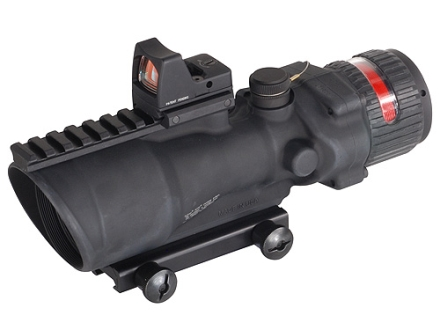 Trijicon ACOG TA648-RMR BAC Rifle Scope 6x 48mm Dual-Illuminated Red Chevron 50 BMG Reticle with 6.5 MOA RMR Red Dot Sight and TA75 Flattop Mount Matte