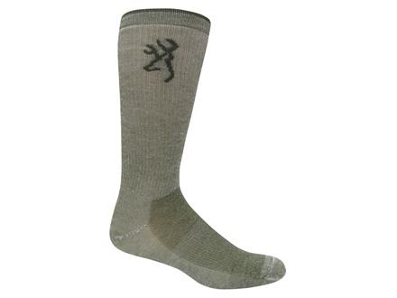 Browning Men's Merino Lightweight Crew Socks Merino Wool Blend Olive Large 9-13