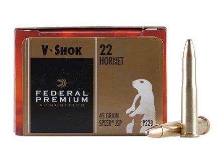 Federal Premium V-Shok Ammunition 22 Hornet 45 Grain Speer Soft Point Box of 50