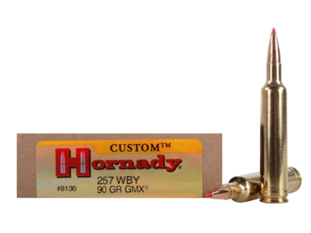Hornady Custom Ammunition 257 Weatherby Magnum 90 Grain Gilding Metal Expanding Boat Tail Lead-Free Box of 20