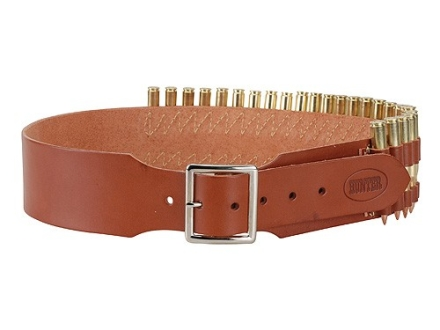 "Hunter Cartridge Belt 2-1/2"" 375 H&H Magnum Base Cartridges 25 Loops Leather Brown XL"