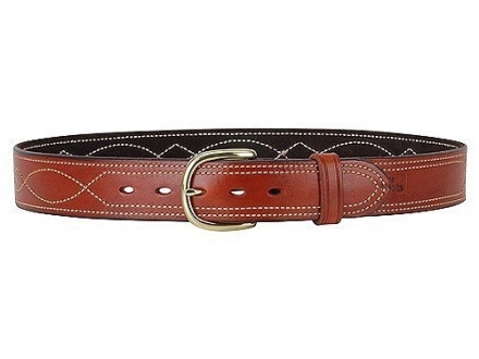 "Ross Leather Fancy Stitch Dress Belt 1-1/2"" Brass Buckle Leather"