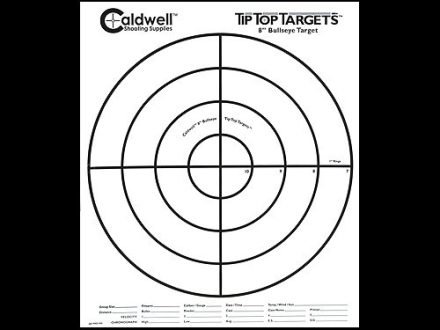 Caldwell Tip Top Target 8&quot; Bullseye Package of 10