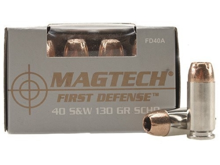 Magtech First Defense Ammunition 40 S&amp;W 130 Grain Solid Copper Hollow Point Lead-Free Box of 20