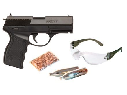 Crosman PRO77 Air Pistol Kit .177 Caliber CO2 Sem-Automatic Polymer Stock Black