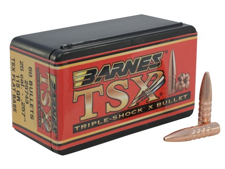 Barnes Triple-Shock X Bullets 25 Caliber (257 Diameter) 115 Grain Hollow Point Flat Base Lead-Free Box of 50