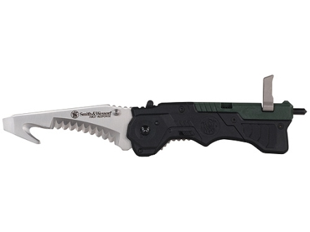 "Smith & Wesson First Response Folding Tactical Knife 3-3/8"" Rescue 4034 Stainless Steel Blade Nylon Handle Green and Black"