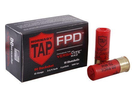 Hornady TAP Personal Defense Ammunition 12 Gauge Magnum 2-3/4&quot; 00 Buckshot FPD