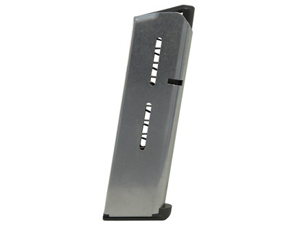 Wilson Combat Magazine with Low Profile Steel Base Pad 1911 Government, Commander 45 ACP 7-Round Stainless Steel
